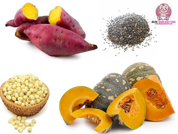 Bí đỏ, hạt sen, khoai lang và hạt chia