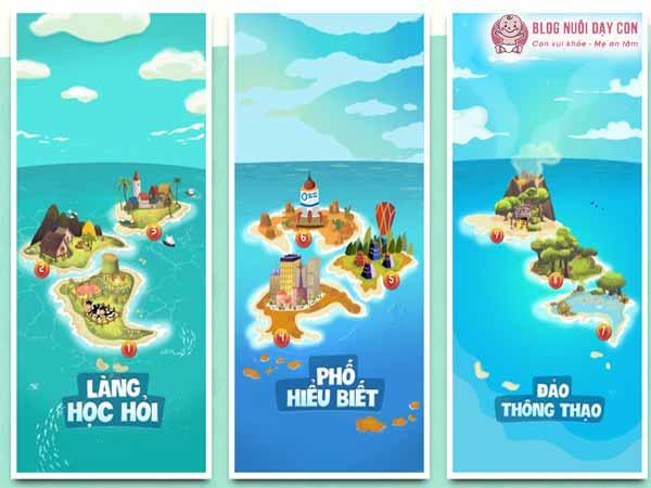 3 cụm đảo tương ứng với 9 cấp độ